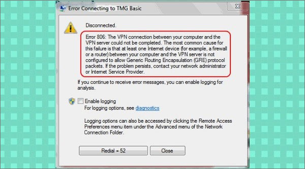 how to fix vpn error 806