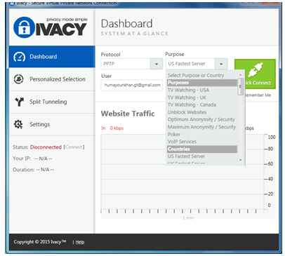 ivacy review of it's user interface