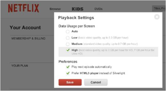 Activating HD Streaming on Netflix 7.99 plan