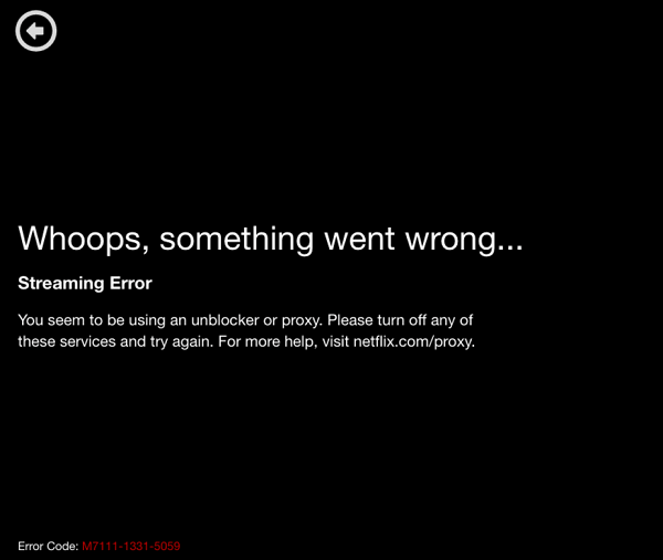 VPN One Click Netflix Error