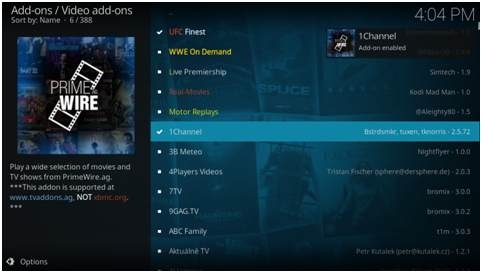 "The add-on will be downloaded and you will be able to see ""Enabled"" next to the channel"