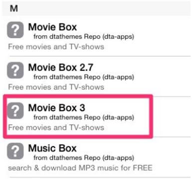 click on Movie Box 3 and install it