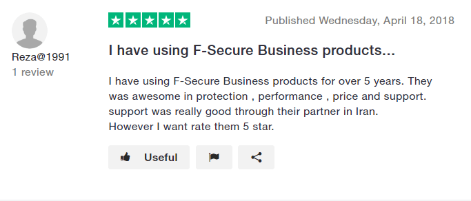 F-Secure-Review-on-Trustpilot-2