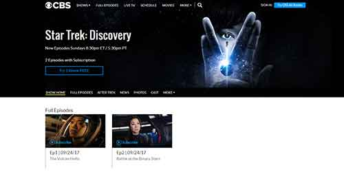 how to watch star trek discovery on CBS