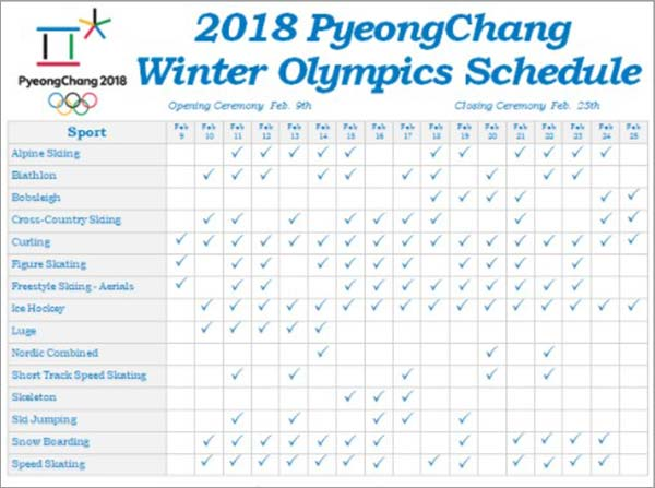 Winter-2018-Olympics-Schedule