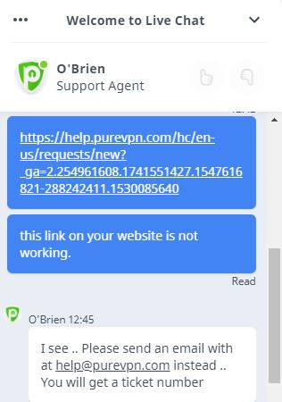 PureVPN chat support