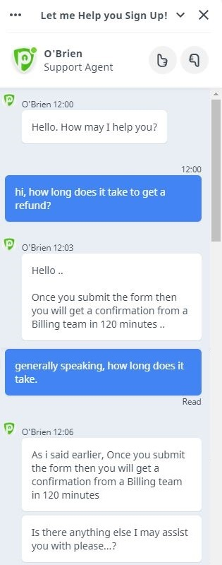 PureVPN live chat support screenshot