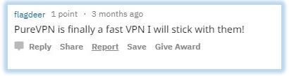 Reddit comment praising PureVPN's speeds
