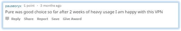 Reddit comment of a satisfied PureVPN customer