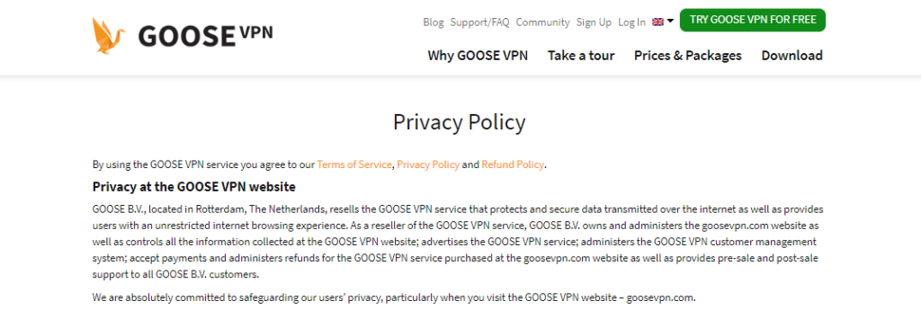 GooseVPN - Does not comply with GDPR Regulations