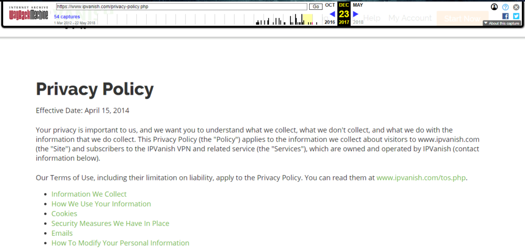 IPVanish Old privacy policy