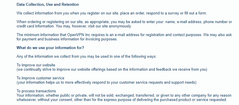 OVPN - Does not comply with GDPR