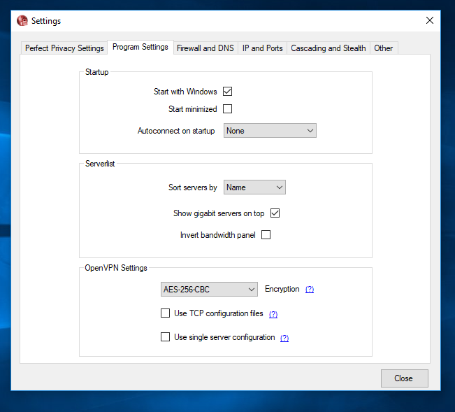 Perfect Privacy VPN Settings for Windows