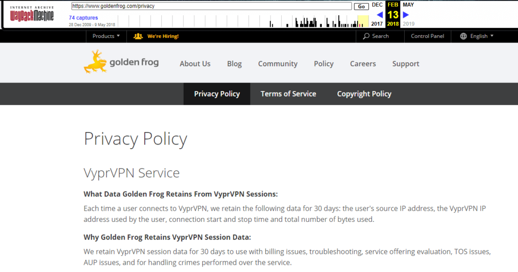VyperVPN OLD Privacy Policy