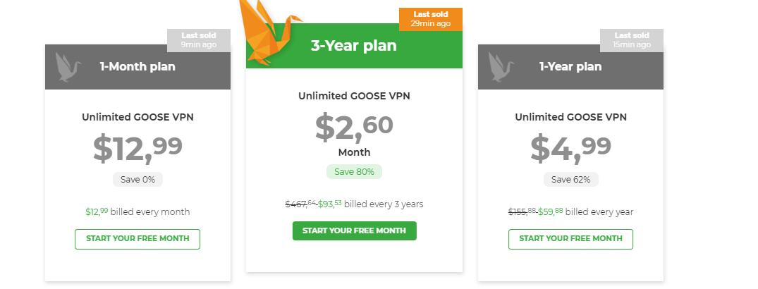 Pricing-Goose-VPN