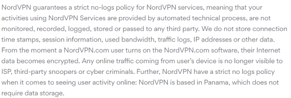 NordVPN Review of Privacy Policy