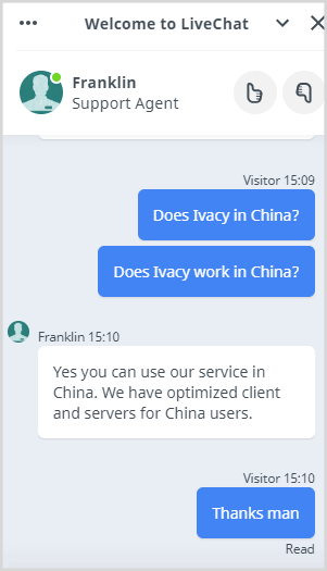 Ivacy-work-in-China-Live-Chat