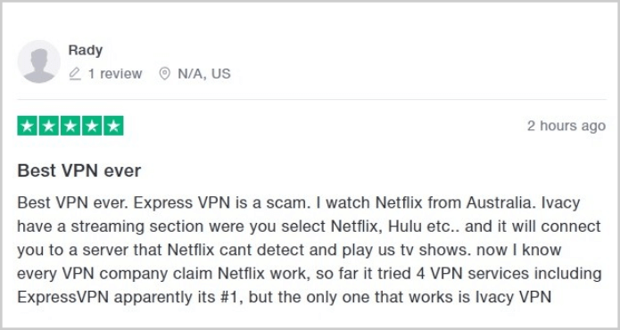 user-on-trustpilot-suggesting-ivacy-over-expressvpn