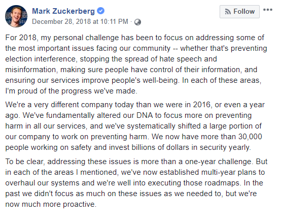 Facebook Mark Zuckerberg Message