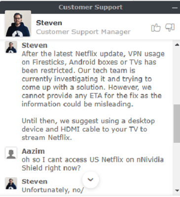 nordvpn not working with netflix customer support