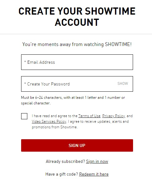 ShowTime create your account