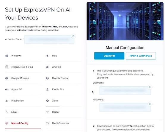 ExprssVPN manual config