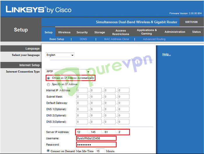 Linksys-PureVPN-Server-IP