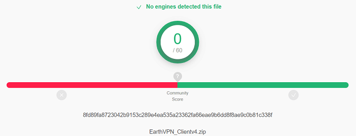 EarthVPN-virus-test