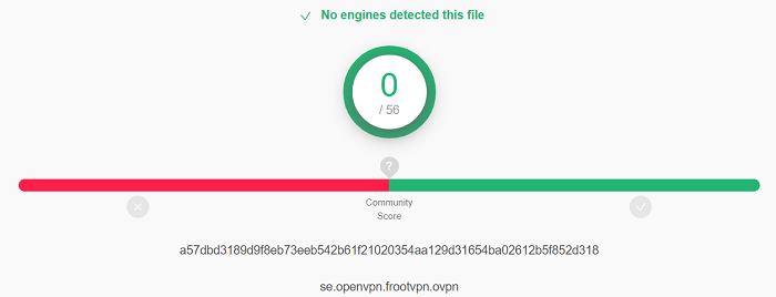 FrootVPN Virus Test
