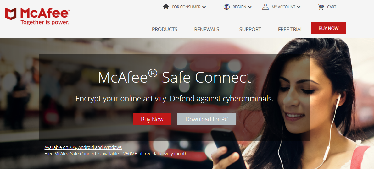 McAfee Safe Connect VPN best antivirus with vpn