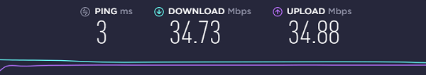 base-internet-connection-speed-test-result-without-Mullvad-VPN-connected