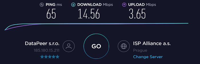 AirVPN-speed-test