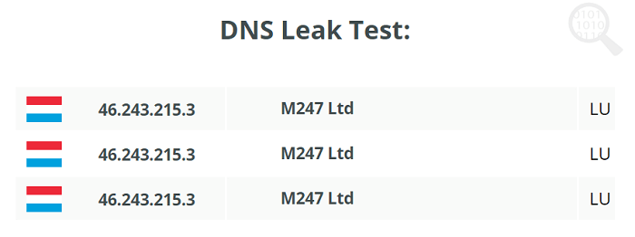 DNS Leak Test of HideIPVPN