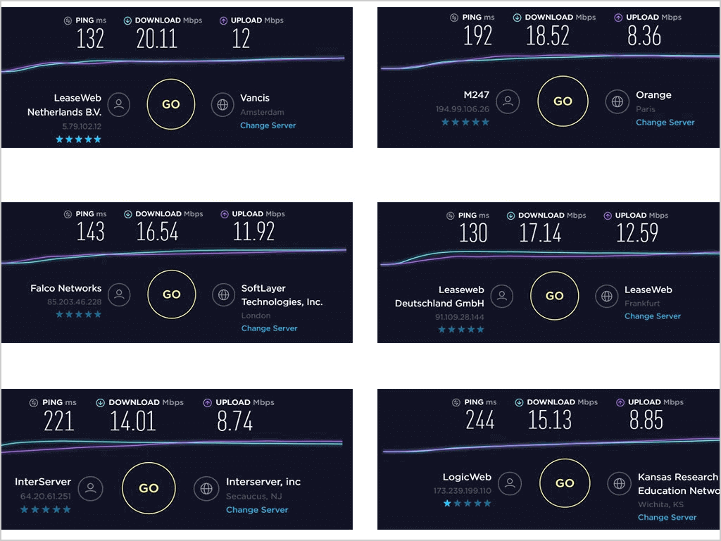 ExpressVPN Download Upload Speeds with Pings on US UK Germany and France servers