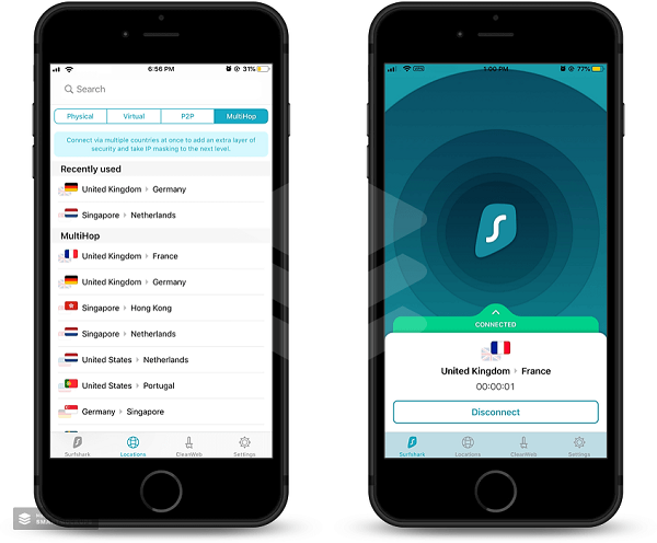 surfshark-multihop-feature-for-ios-connected-to-united-kingdom-and-france-server