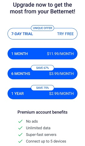 Betternet-pricing-plans-2020