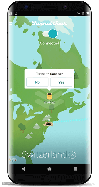 Tunnelbear-android-app-interface
