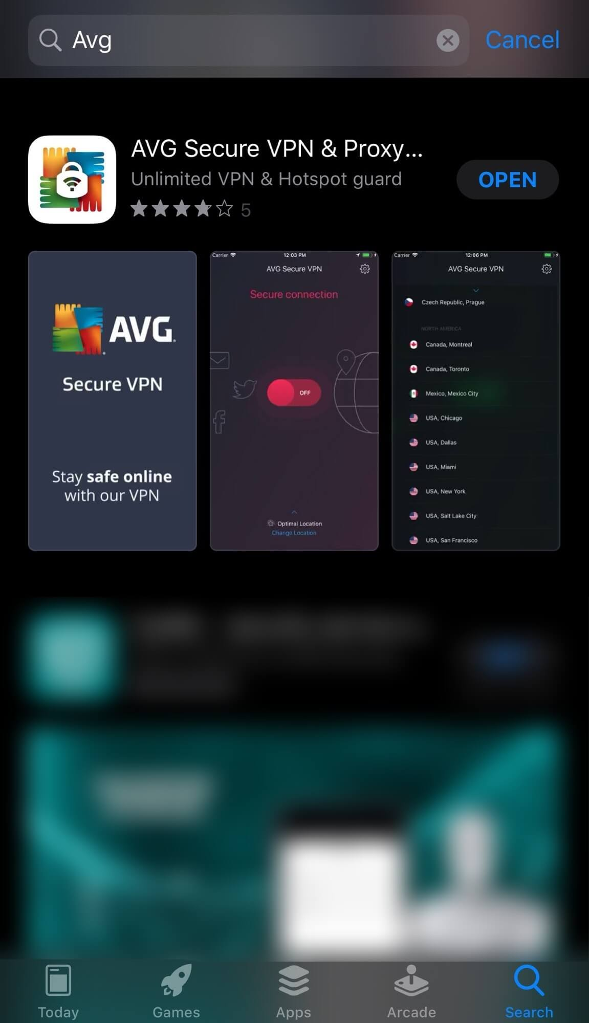 Apple-app-store-AVG-VPN-app-download