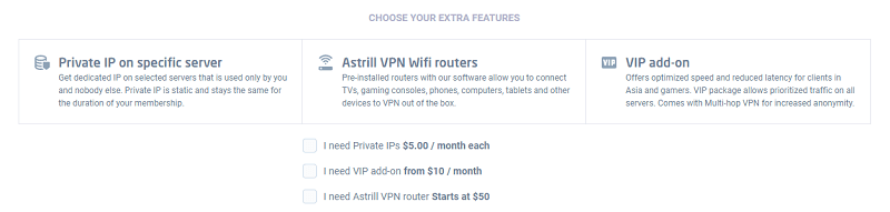 Astrill VPN Extra Features with Prices