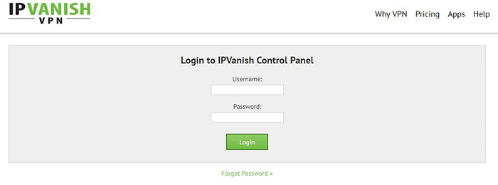 IPVanish-User-Account-Login