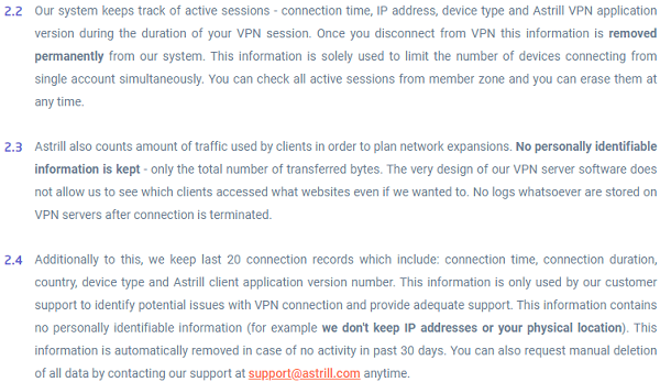 Astrill VPN Logging Policy