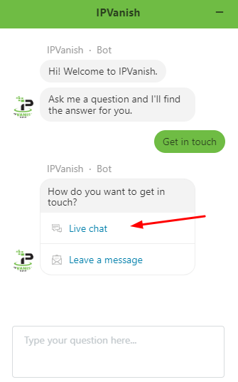 ipvanish live chat button