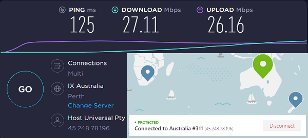 NordVPN Speed Test Result on Australia Server