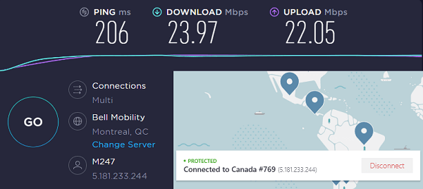 NordVPN Speed Test Result on Canada Server