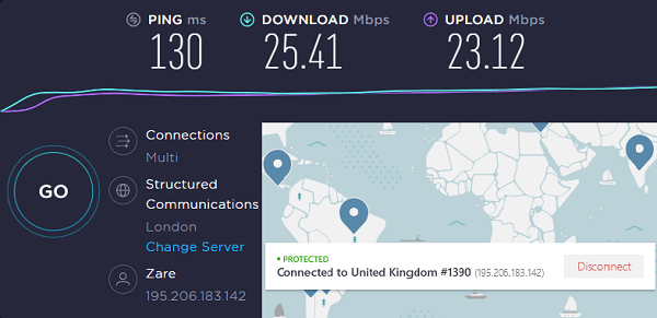 NordVPN Speed Test Result on UK Server