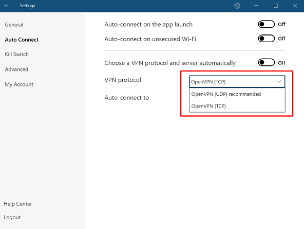 NordVPN settings option to select protocols