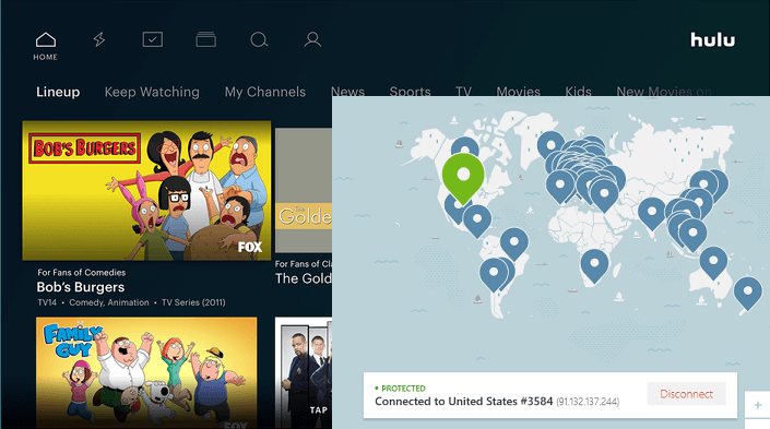 NordVPN working with hulu on us server