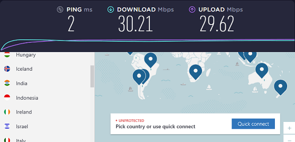 Speed test result without connection to NordVPN