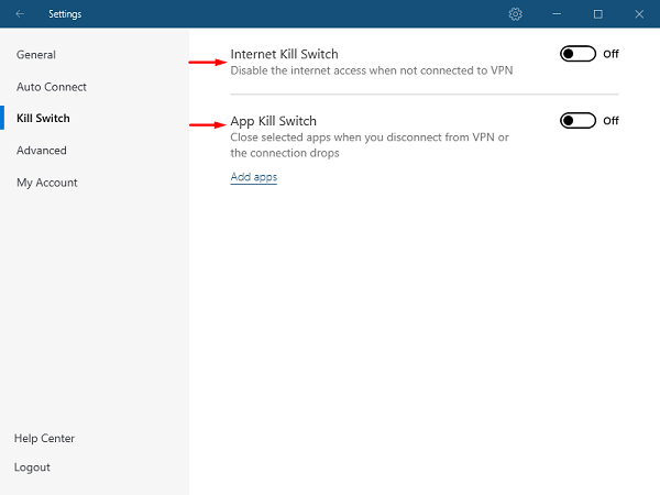 NordVPN Internet and App Kill Switch Features