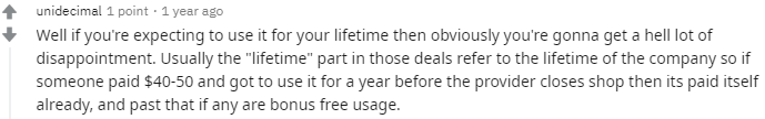 Lifetime VPN reddit comment 2